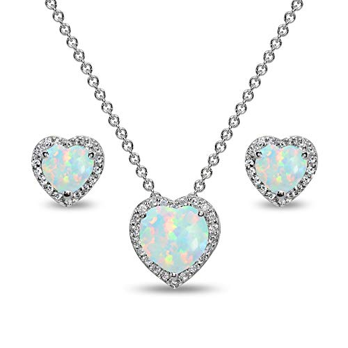 Sterling Silver Simulated White Opal and CZ Halo Heart Pendant Necklace & Stud Earrings Set