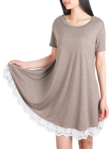 Anna Smith Ladies Short Sleeve Blouses, Long Tunic Tops for Women to Wear with Leggings Flattering Style Lace Round Bottom Flared Roomy T Shirt Clothes Khaki Medium (Overalls Smith Cotton)