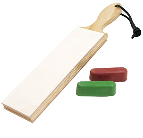 Leather Paddle Strop Double Sided 2.5 Inch Wide with Compounds
