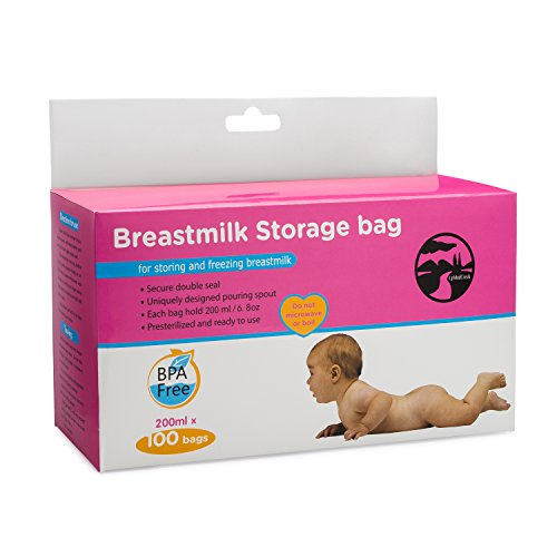 Upmudcreek Breastmilk Storage Bags 200ml, 100 count, Presterilized BPA free material