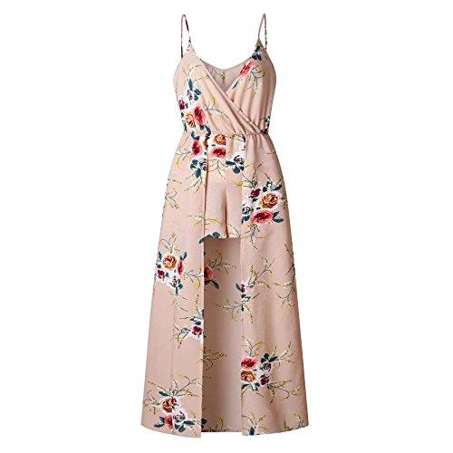 Pants Sling Beach Sport Stylish V Pattern2 Women Split Dress Neck Printed Coolred Long xOXaq1wf