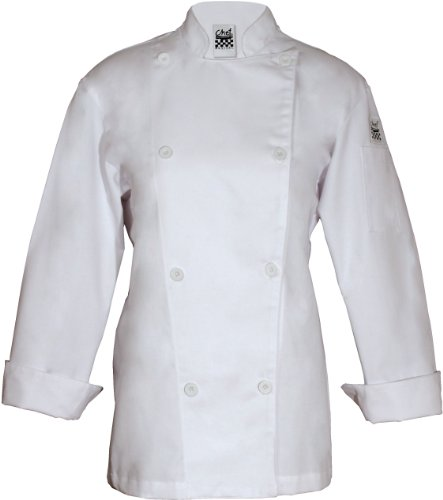 Chef Revival LJ027 Poly Cotton Ladies Knife and Steel Long Sleeve Jacket with White Chef Logo Button, 4X-Large, White by Chef Revival