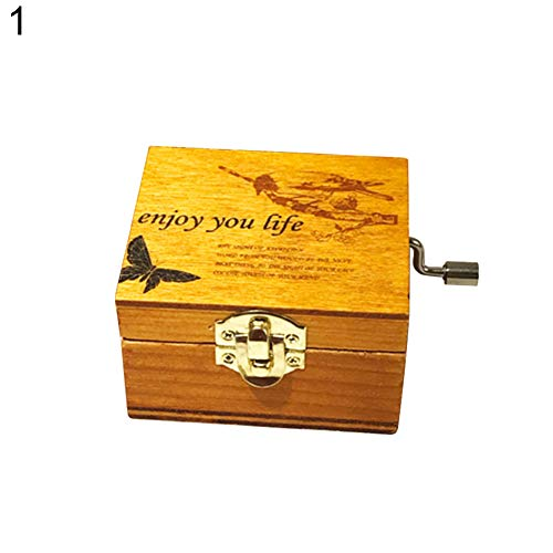 (Dds5391 Novelty Mini Vintage Hand Crank Wooden Music Box Birthday Gift Christmas Decoration - 1#)