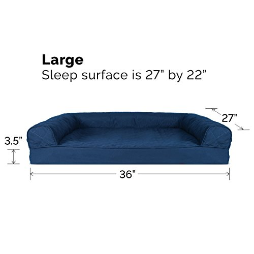 Image of FurHaven Pet Dog Bed | Orthopedic Quilted Sofa-Style Couch Pet Bed for Dogs & Cats, Navy, Large