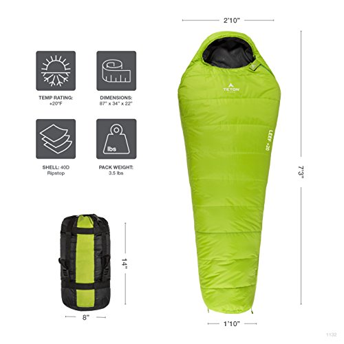 TETON-Sports-LEEF-Ultralight-Mummy-Sleeping-Bag-Lightweight-Mummy-Bag-Perfect-for-Backpacking-Hiking-and-Camping-3-4-Season-Sleeping-Bag-Compression-Sack-Included