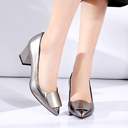 Jqdyl High Heels Schuhe Frauen Singles Schuhe Heels Frühling Frauen Singles Schuhe Rough Heel High Heel Hochzeit Schuhe Gun color ba61f6