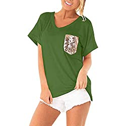 Womens Sequin Blouse Ladies Fashion Solid Round Neck Short Sleeve T Shirt Stylish Lightweight Comfy Blouse Sumeimiya Green