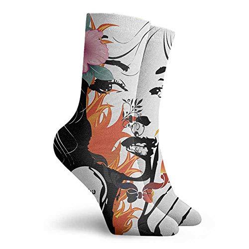 Tattoo Women's Novelty Hiking Walking Socks Orange Pink Black and White (Pink Sock Monkey Lovey)