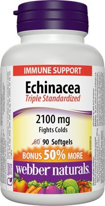 Webber Naturals Echinacea Standardized Herb 8:1 Extract, 2100mg, 90 Softgels Bonus Echinacea Angustifolia Standardized Extract