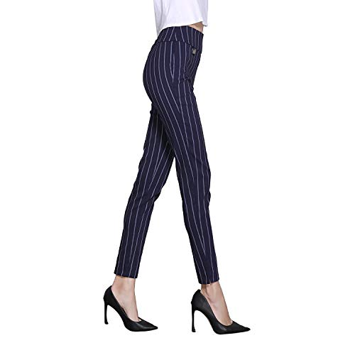 Stripe Pants Bootcut - Shapetune Women's Staight Fit Stripe Boot Cut Pant Navy/White (Small)