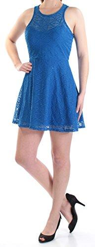 Material Girl $50 New 1404 Blue Geometric Textured Jewel Neck A-Line Dress M B+B