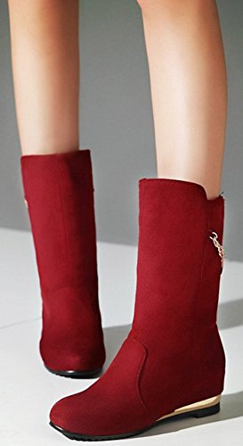 Pull Trendy IDIFU Heels Wedge Calf Faux On Red Inside Boots Mid Mid Suede Womens Round Toe xIfrq5Iv