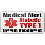 Metal License Plate Medical Alert Red Diabetic Insulin Dependant TYPE 1 - Neonb