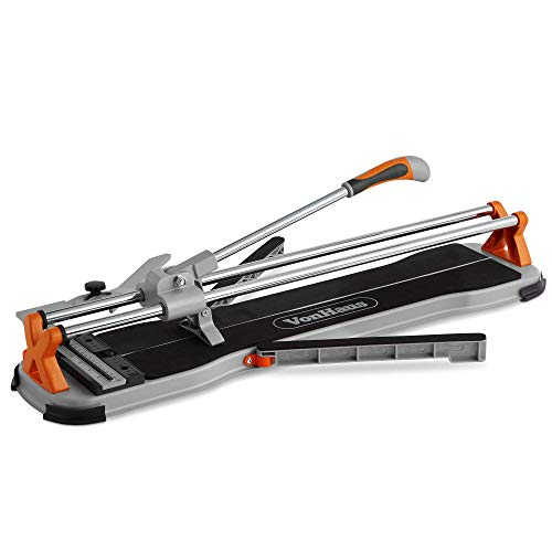 VonHaus 24 Inch Manual Tile Cutter with Tungsten Carbide Cutting Wheel, Anti-sliding Rubber Surface, 1x Spare Scoring Wheel – Suitable for Porcelain and Ceramic Floor and Ceiling Tiles (Renewed)