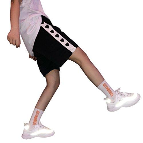 Towashine Elastic Waist Casual Side Stripe Heart Print Summer Shorts Couples Unisex by Towashine