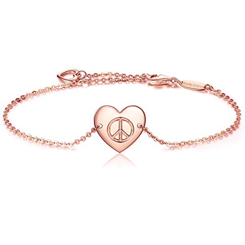 Essie Odila 18K White Gold Plated Sterling Silver Heart Adjustable Bracelet for Womens Sisters Friends Mother (Rose Gold, World Peace Sign) ()