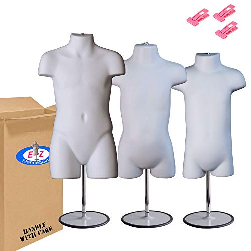 Toddler + Infant + Child Mannequin Torso, Dress Form Hollow Back Body Kids Set, with Metal Stand by EZ-Mannequins, for Craft Shows, Photos or Display, Easy to Use and Store, 9mo-7 Clothing Sizes.