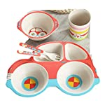 Kinue Exquisite Tea Cups Saucers Set Set Coffee Cup Car Children's Bamboo Fiber Cartoon Tableware Bowl 5-Pieces (Color : Red)