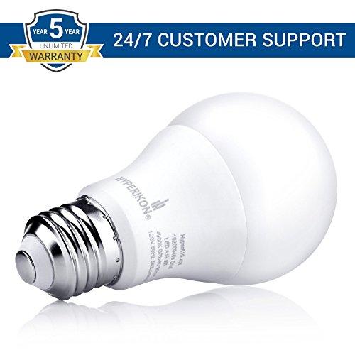 Hyperikon Dimmable LED Light Bulbs A19 60 Watt Equivalent LED Bulbs, 9W, 3000K, E26, 6 Pack