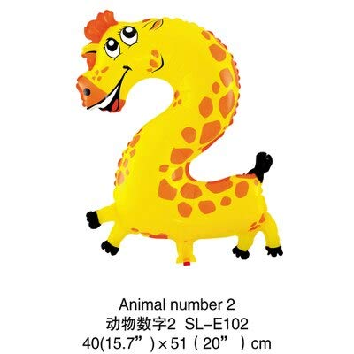 S Birthday Party - 16 Inch Animal Number Foil Balloon Wedding Happy Birthday Party Decoration Balloons Kids Babys - Anime Pin Alphabet Button Ruian Math Girl Number Mini Ball