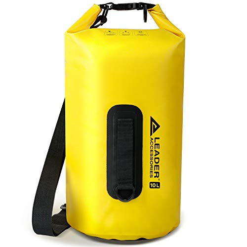 Leader Accessories New Heavy Duty Vinyl 15L Yellow Waterproof Dry Bag for Boating Kayaking Fishing Rafting Swimming Floating and Camping
