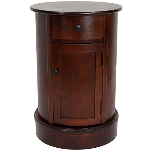 Oriental Furniture 26'' Classic Oval Design Nightstand - Cherry