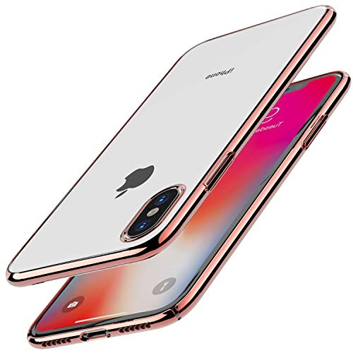 TOZO for iPhone X Case, Ultra Thin Hard Cover Worlds Thinnest Protect Bumper Slim Fit Shell for iPhone 10 / X [ Transparent ] Lightweight [Rose Gold Plating Edge]