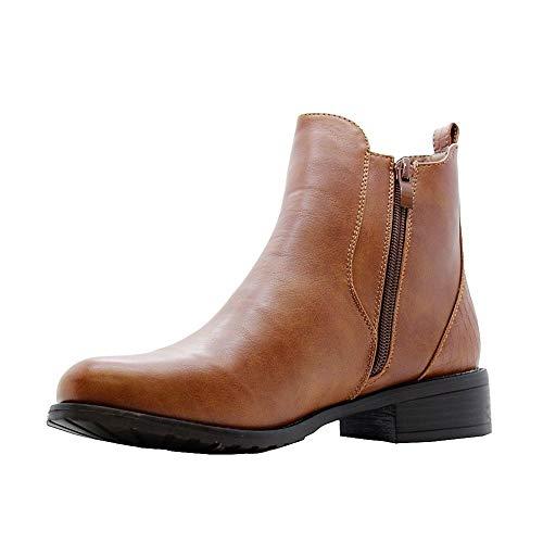 Tan Buckle 3 Office Women Styles Ladies Boots 8 Block Shoes Flat