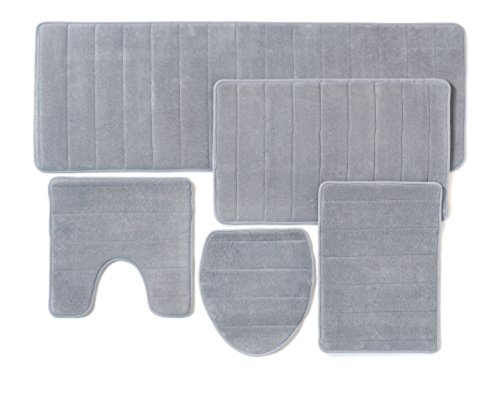 5 Pieces Set Memory Foam Bathroom Rug Mat Extra Soft Non-Slip Back (Grey) by Come On Style Shop