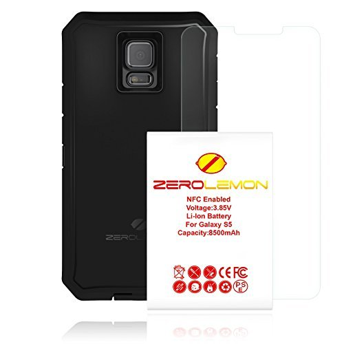 Zerolemon 8500mAh Extended Battery with Rugged TPU ZeroShock Case for Samsung Galaxy S5 Versions - Black