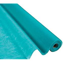 Fun Express Turquoise Gossamer Roll 100 FT X 3 FT Wedding Aisle Decoration Table Cover, Dropback