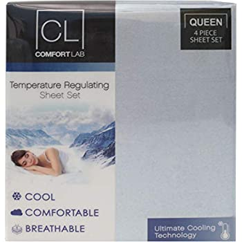 Posh Home Comfort Lab Temperature Regulating Ultimate Cooling Technology Luxurious All Year Round Cool Comfortable Breathable 4 Piece Sheet Set (Queen, Light Blue)