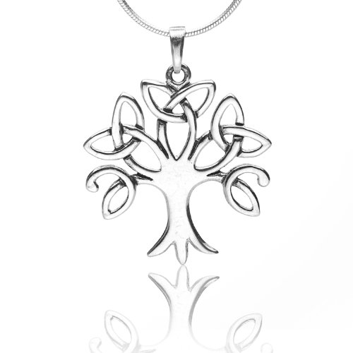 Celtic Tree Of Life (925 Sterling Silver Celtic Knot Trinity Tree of Life Pendant Necklace, 18 inches - Nickel)