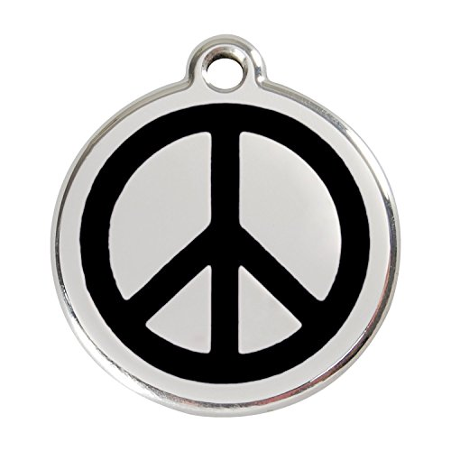 - PUNK HOLLOW COUNTRY KENNEL Red Dingo ~ Stainless Steel with Enamel Dog, Cat, Pet I.D. Tag - Peace Sign (USPS Shipping W/Tracking) (Small - 0.8