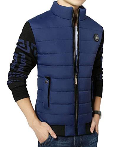 Ragazzo Spesse Con Capispalla Collar Stand Caldo Top Blau Da Giacche Frontali Cerniera Uomo Tasche Cappotto Giacca wRdFw8