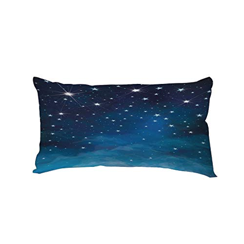 Neck Pillow,Night,Vibrant Star in Abstract Ombre Style Sky Astronomy Themed Graphic Decorative,Light Blue Dark Blue White,13.7x7.8Inches,for Car Designed,Travel Car Seat & Home ()