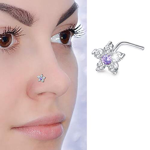 20G Sterling Silver Flower Nose Stud L Shape Ring Body Jewelry with Big Bling Two-Tone 6-CZ Flower Top - Body Jewelry Bling