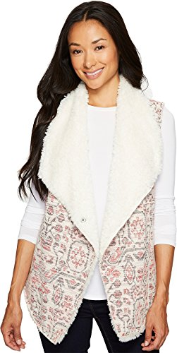 Dylan by True Grit Women's Vintage Jacquard Sherpa Vest Red/Ivory X-Small