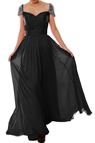 MACloth Women Cap Sleeves Long Ball Gown Evening Formal Prom Dress Wedding Party Negro