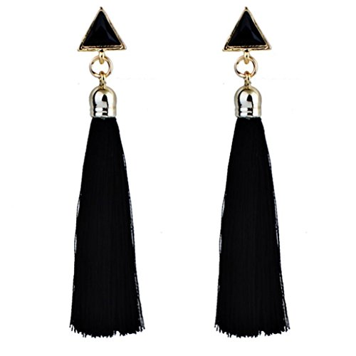 - FAPIZI Clearance Bohemian Ladies Fashion 9 cm Bohemian Rope Tassel Earrings Ethnic Ear Stud Hanging Drop Eardrop for Women (Black)