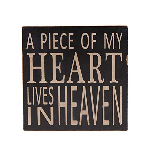 E-view Wood Box Sign with Quotes A Piece of My Heart Lives in Heaven, Memorial Sign Table Wall Decor 5.75 x 5.75 inches (Sign Heart Wooden)