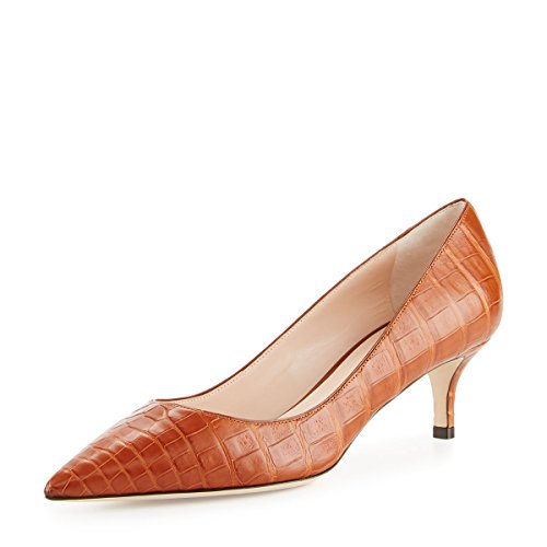 Brown Suede Pumps (YDN Women Low Kitten Heel Pumps Pointed Toe Dress Shoes for Office Lady Soft Suede Crocodile Printing-Light Brown 7)