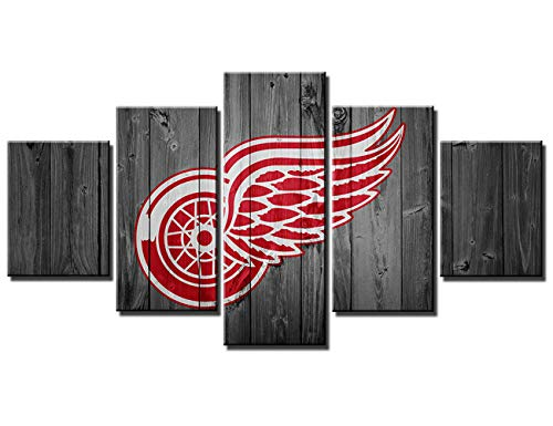 Hockey Art Detroit Red Wings - Chicicio Detroit Red Wings NHL Hockey Team Logo Wall Decor Art Paintings 5 Piece Canvas Picture Artwork Ice Hockey Prints Poster Home Decoration Wooden Framed Ready to Hang(60''Wx32''H)