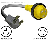 10-30P 3-Pin Male Dryer 220/250V Plug To TT-L5-30R Weatherproof 110/125V RV Camper Travel Trailer Motor Home Receptacle Outlet Socket Adapter, Electrical Power Connector Cord Convert, NEMA FX125V1002