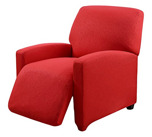 Madison Stretch Scroll Jersey Slipcover Recliner, Red (Stretch Scroll)