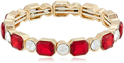 Emerald Cut Glass - Anne Klein Women's Red Emerald Cut Stone Stretch Bracelet, Size: 0