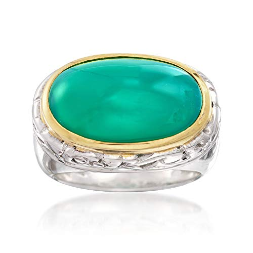 Ross-Simons Green Chalcedony Ring in Two-Tone Sterling Silver