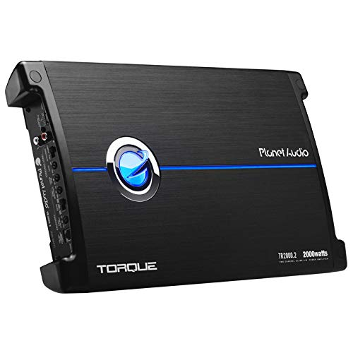 Planet Audio TR2000.2 Torque 2000 Watt, 2 Channel, 2 to 8 Ohm Stable Class A/B, Full Range, Bridgeable, MOSFET Car Amplifier with Remote Subwoofer - Amp Audio Planet Torque