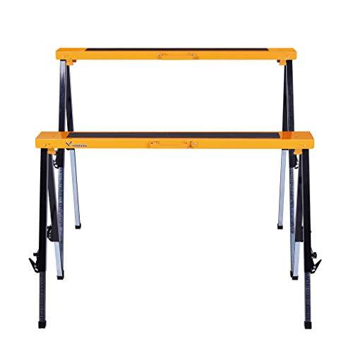 (Multi Purpose Steel Sawhorse, Folding Legs Height Adjustable 330 Lbs Load Capacity Per Unit Twin Pack WK-SH032T)