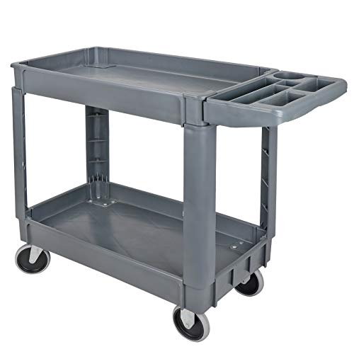 (ZENSTYLE Heavy Duty Plastic Service Cart 550lbs Capacity 2-Shelves Utility Storage Cart with Wheels, Grey)